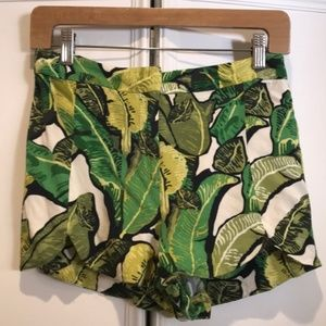 Topshop Banana Leaf Green Print Shorts Sz 4